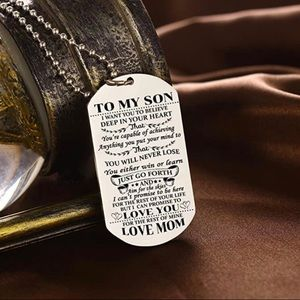 Jewelry - To my son love mom stainless necklace dog tag